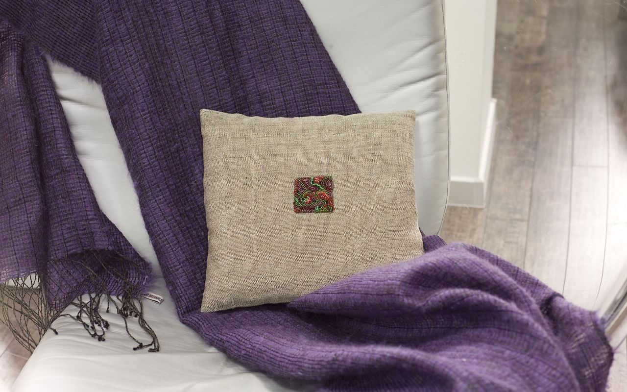 Linen shawl and beaded linen cushion covers