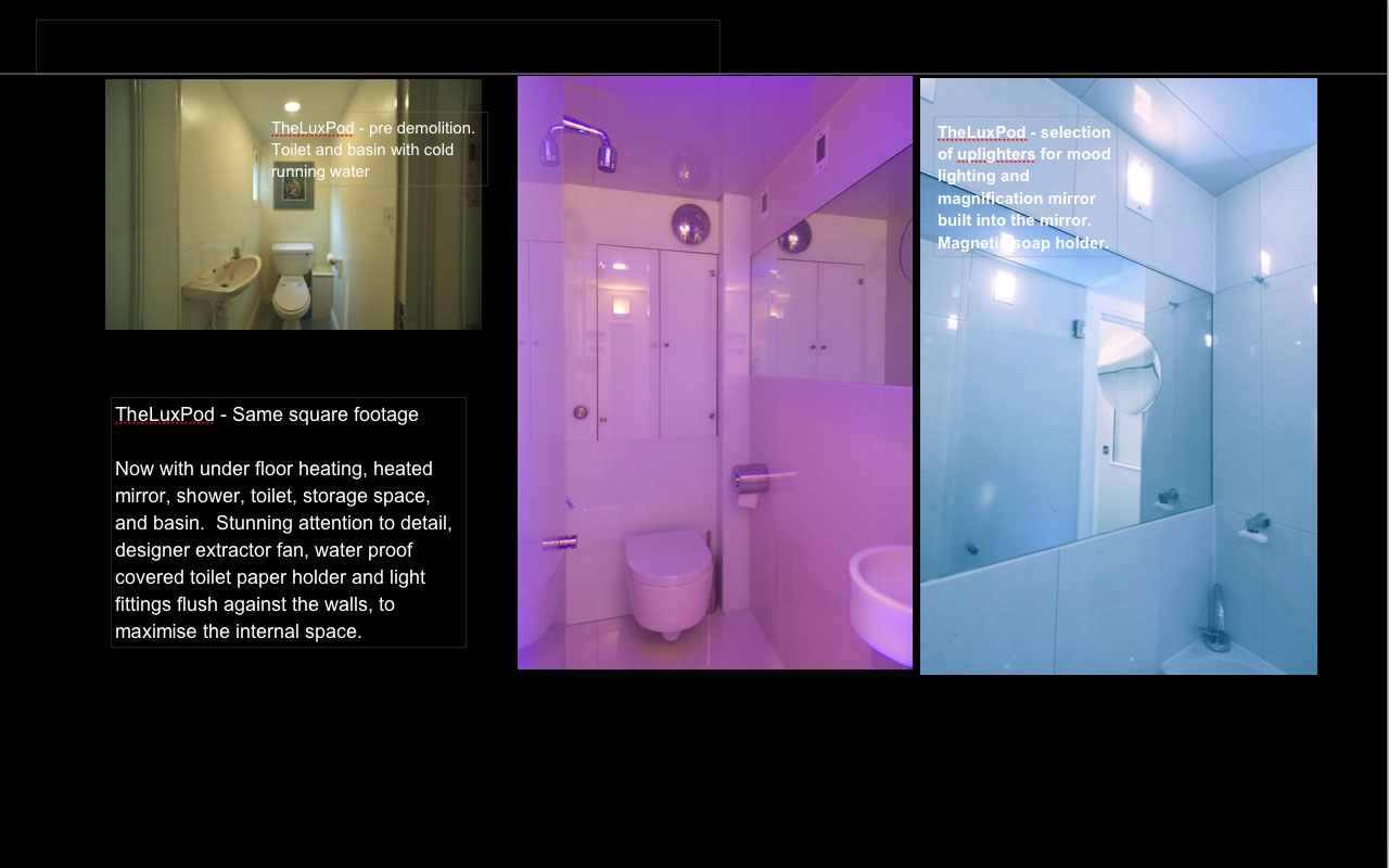 Uplighter LEDs on threshold of the wetroom floor provides a stimulating wash of color.