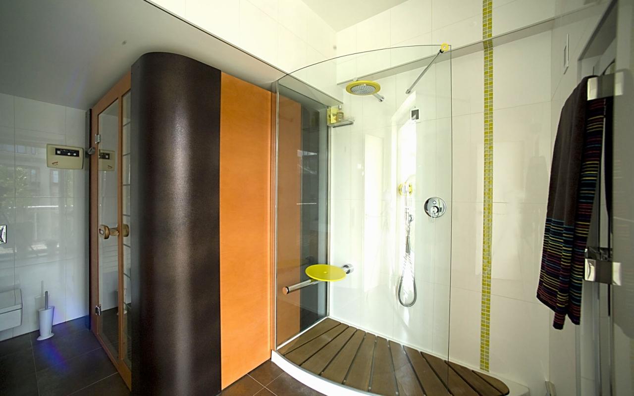 Finnish sauna & rain forrest shower with seat