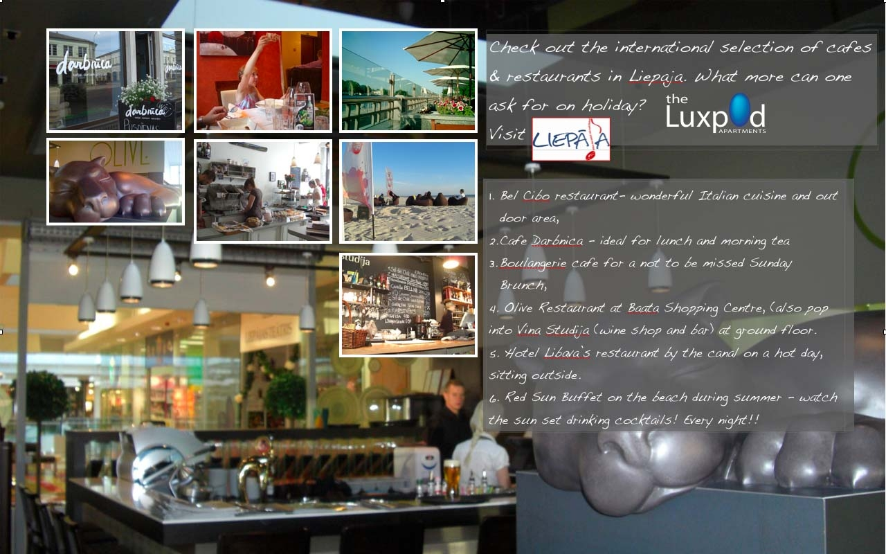 Lists of Restaurants, Liepaja, Latvia. Liste der Restaurants, Liepaja, Lettland