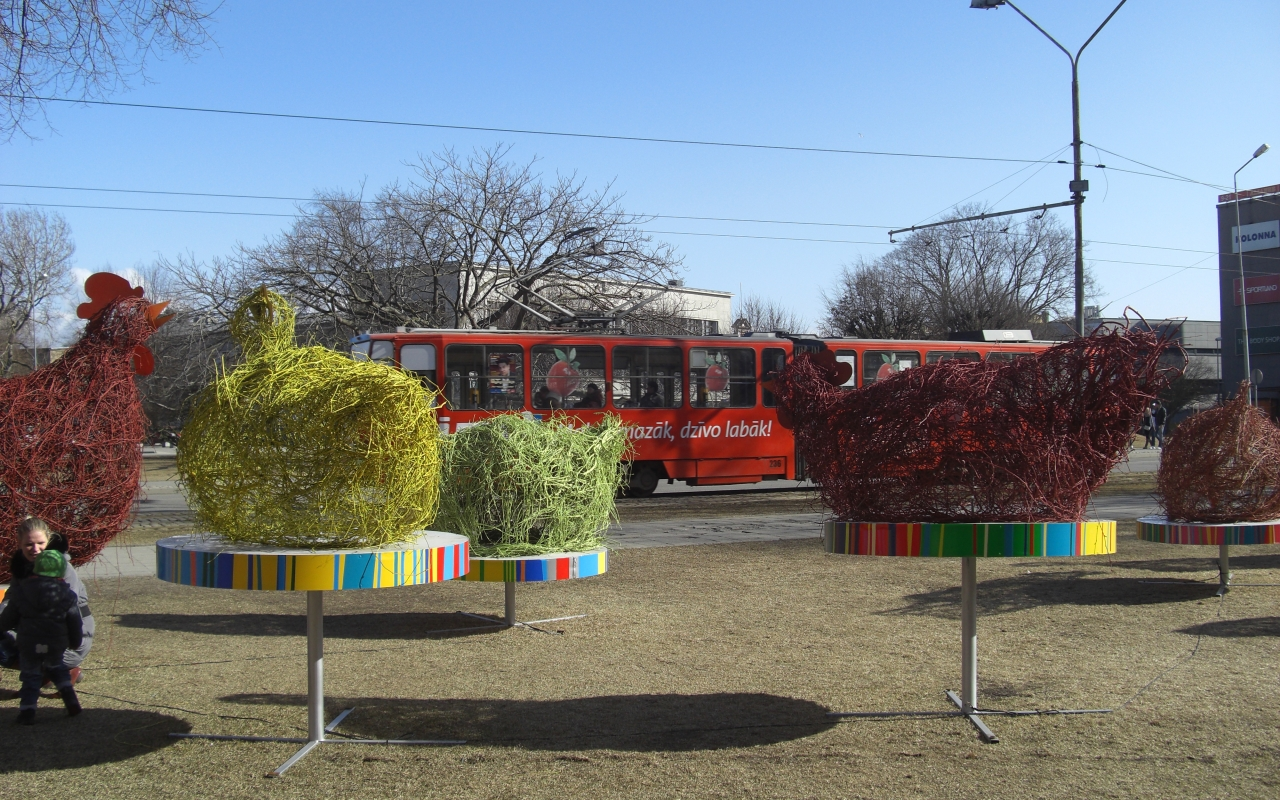 Trams in Liepaja, Easter. Stay at LuxLoft for luxury accommodation in Latvia
